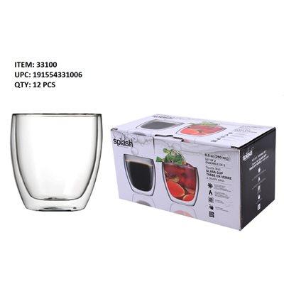 SPLASH DOUBLE WALL GLASS CUP 2PK 8.5OZ